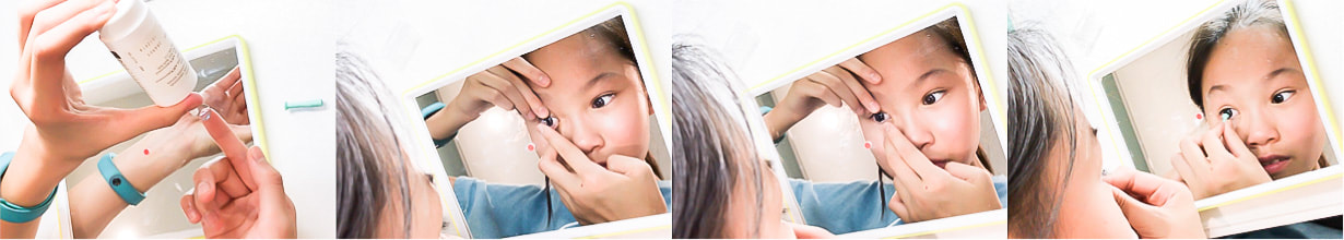 A child learns the correct method of handling and using her OK hard lenses, guided by our experienced children's Ortho K practitioner in Melbourne.