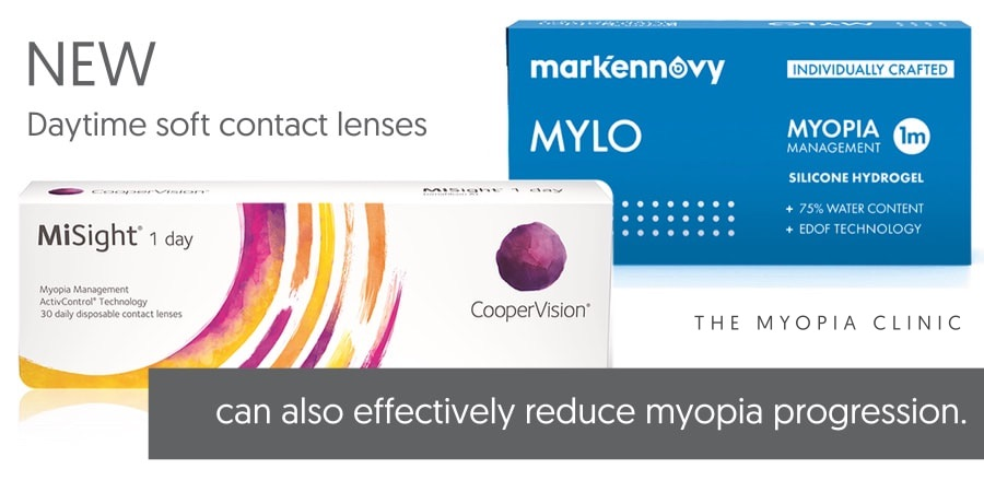 At the Melbourne Myopia Clinic we prescribe soft contact lenses designed for Myopia Control. These include CooperVision MiSight 1 Day and Mark'ennovy MYLO contact lenses.